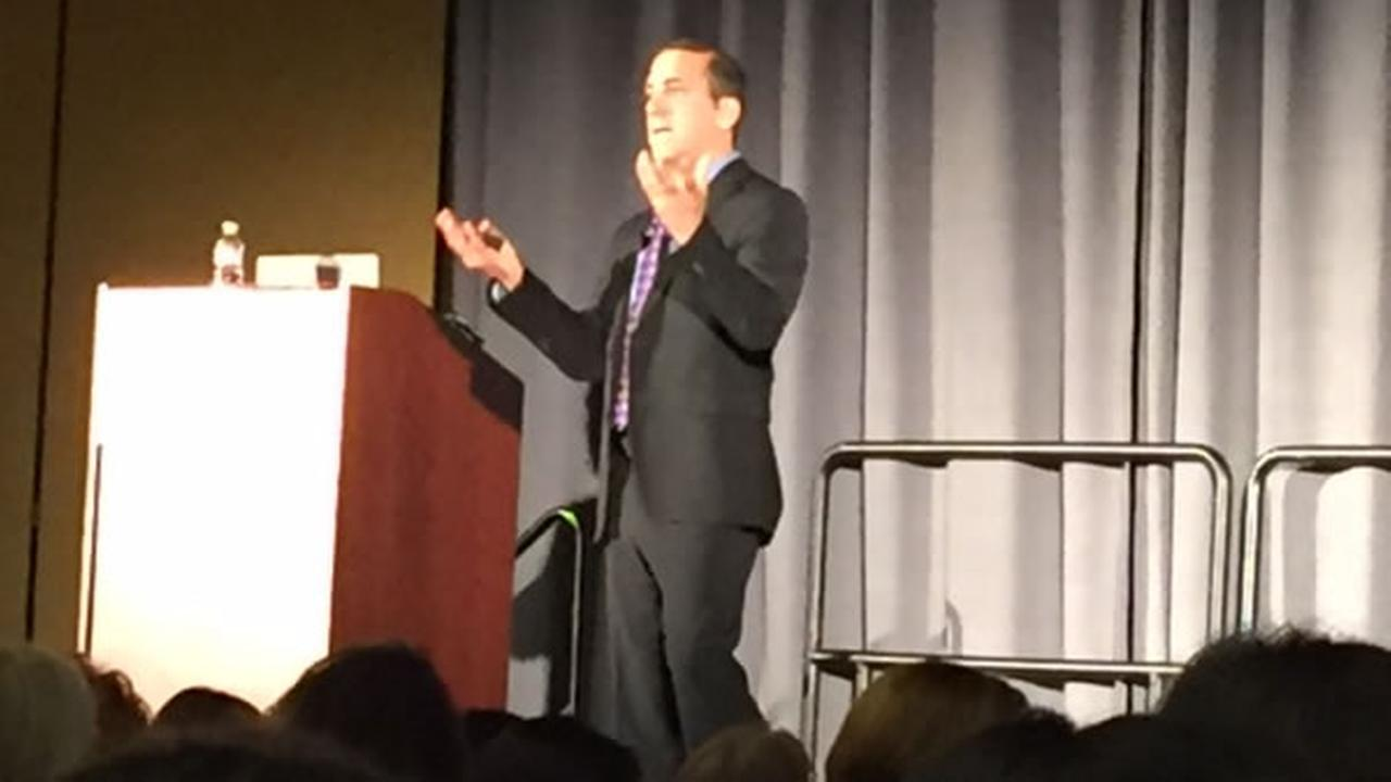 Joel Garfinkle speaks on perception and influence at the Professional Business Women of California Conference in San Francisco on Tuesday, March 22, 2016.KGO-TV