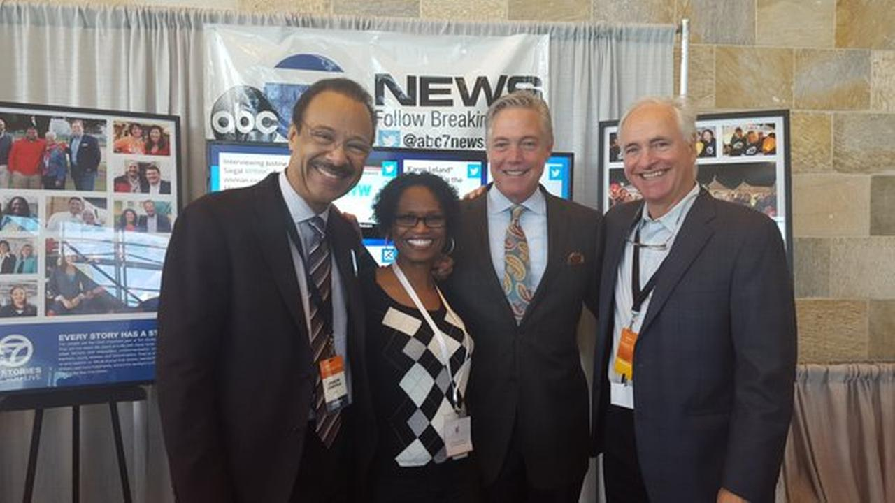 PBWC attendees take a photo with Spencer Christian, Dan Noyes and Mike Shumann at Moscone Center on Tuesday, March 22, 2016.KGO-TV