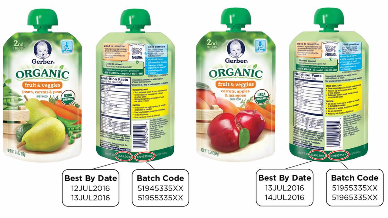 These undated images shows pouches of Gerber organic baby food thats being recalled because of a possible packaging defect.