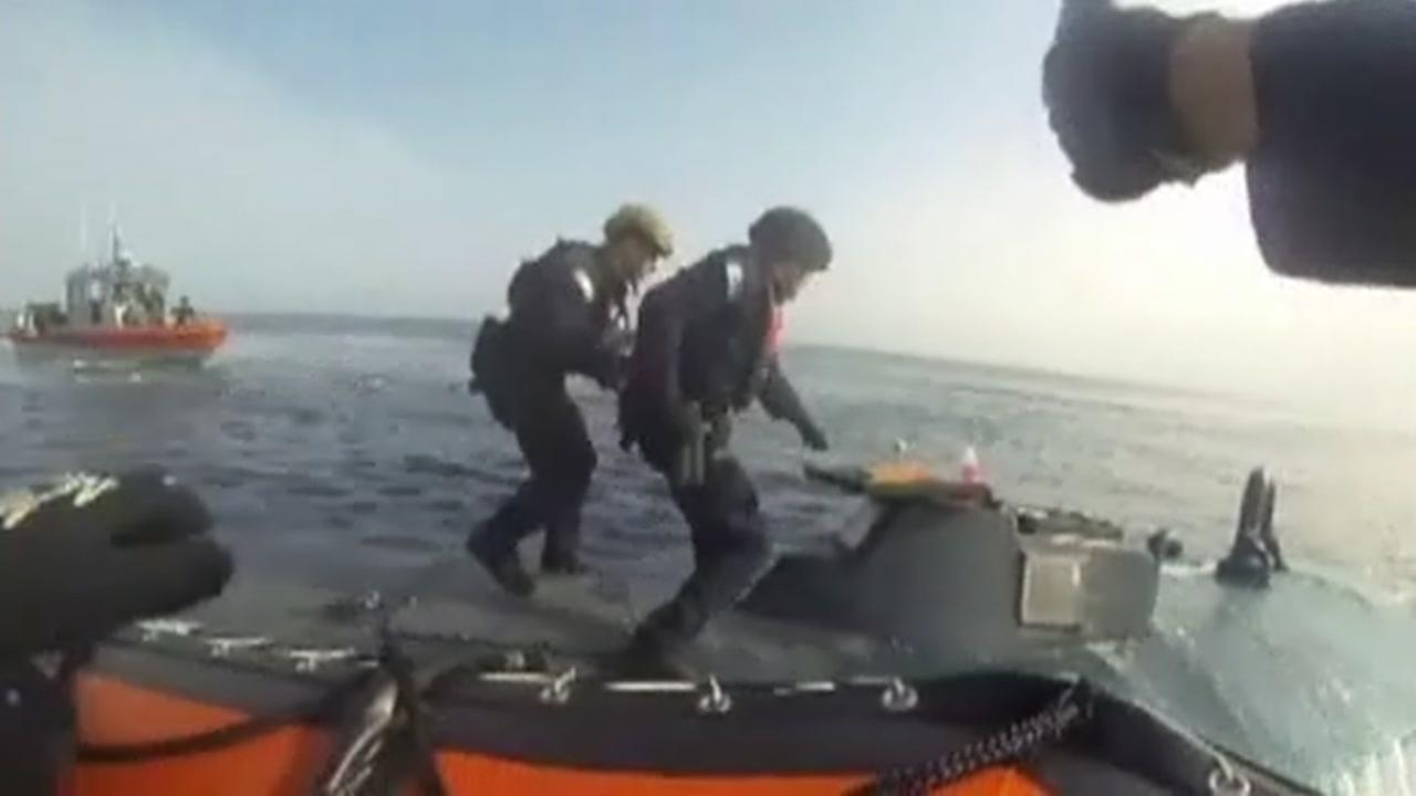 This image from video shows the Alameda Coast Guard seizing six tons of cocaine worth more than $200 million off the coast of Panama on March 3, 2016.
