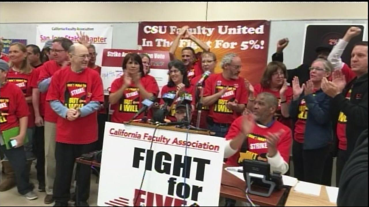 This undated image shows California State University employees standing with Fight for 5 signs.