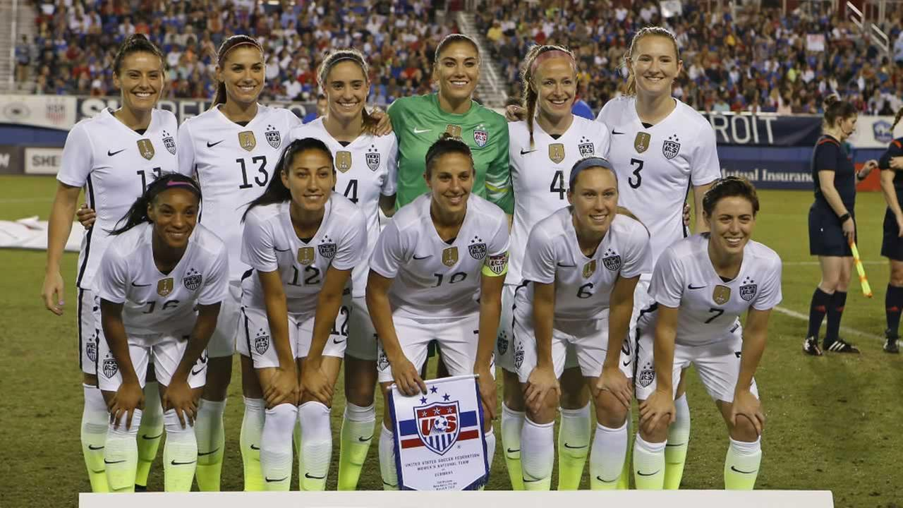 The US team poses prior to their match against Germany in a womens soccer game in the SheBelieves Cup, Wednesday, March 9, 2016,  in Boca Raton, Fla.