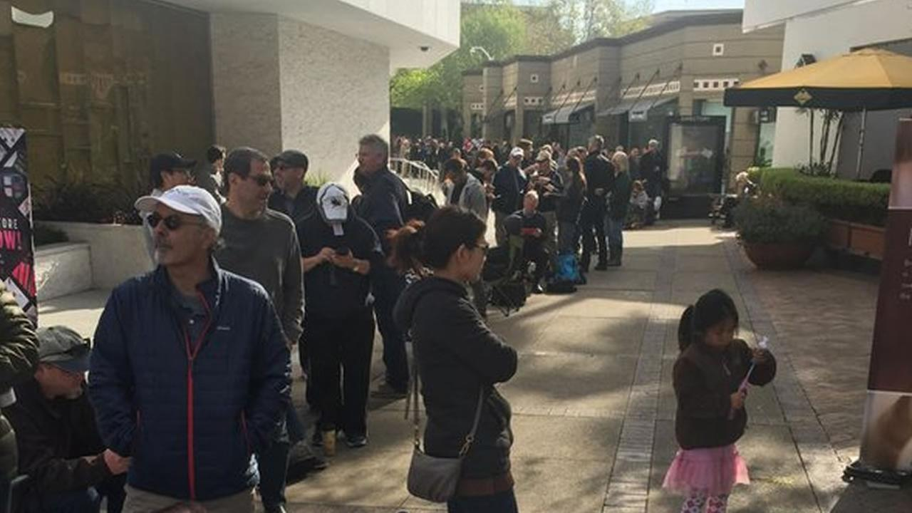 Nearly 300 people waited in line in Walnut Creek, Calif. to put down a deposit on a new Tesla March 31, 2016.