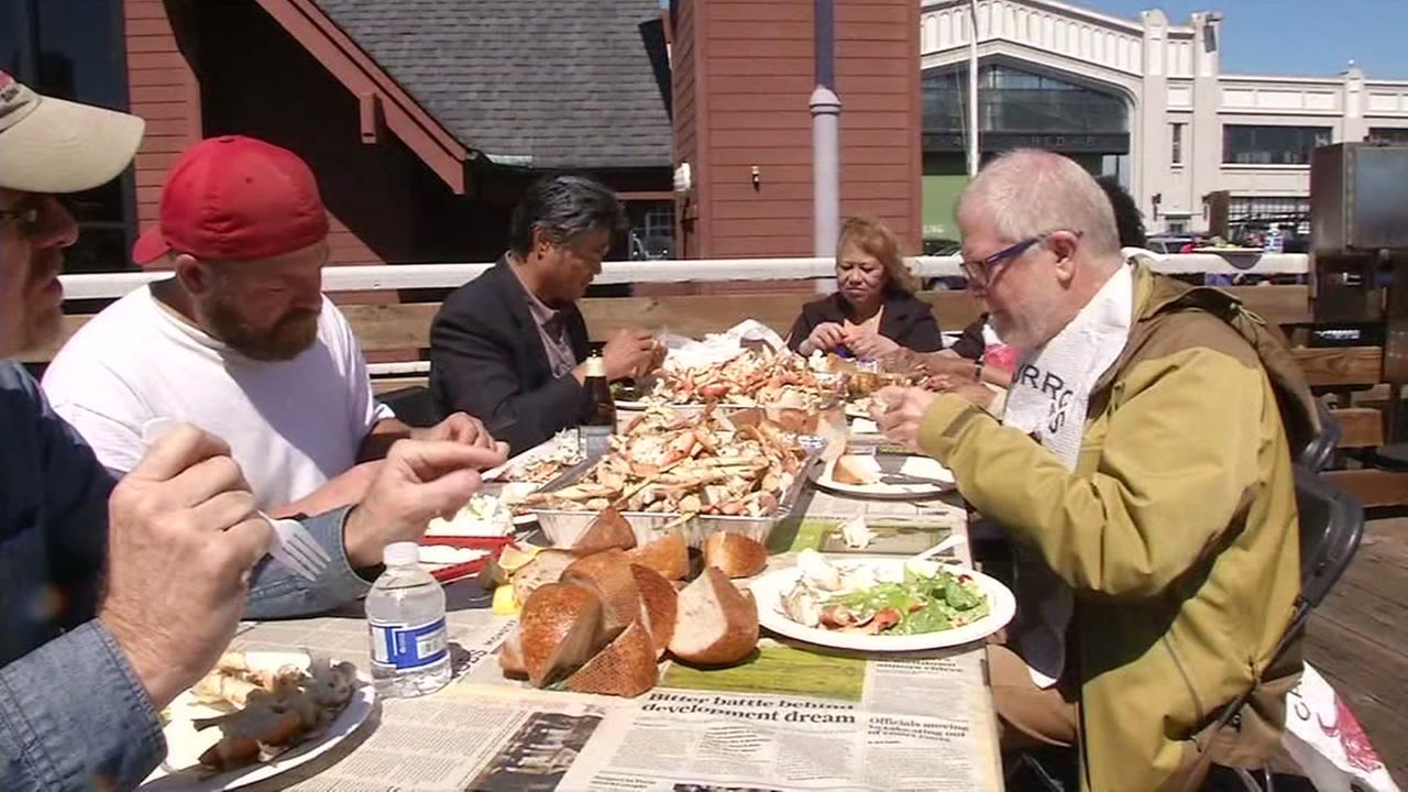 People celebrated the opening of Dungeness crab season in San Francisco with a crab feed on Friday, April 1, 2016.