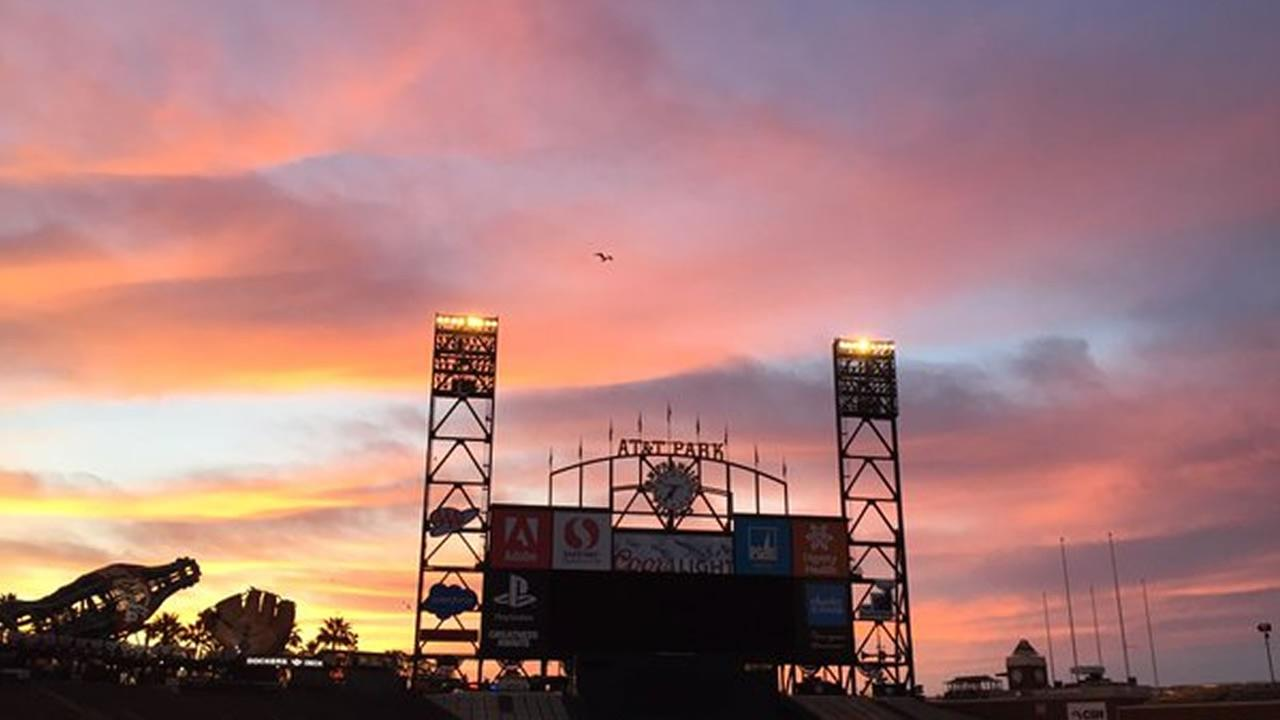 This image shows the sun rising over AT&T Park on the morning at the seasons home opener in San Francisco, Calif. April 7, 2016. KGO-TV