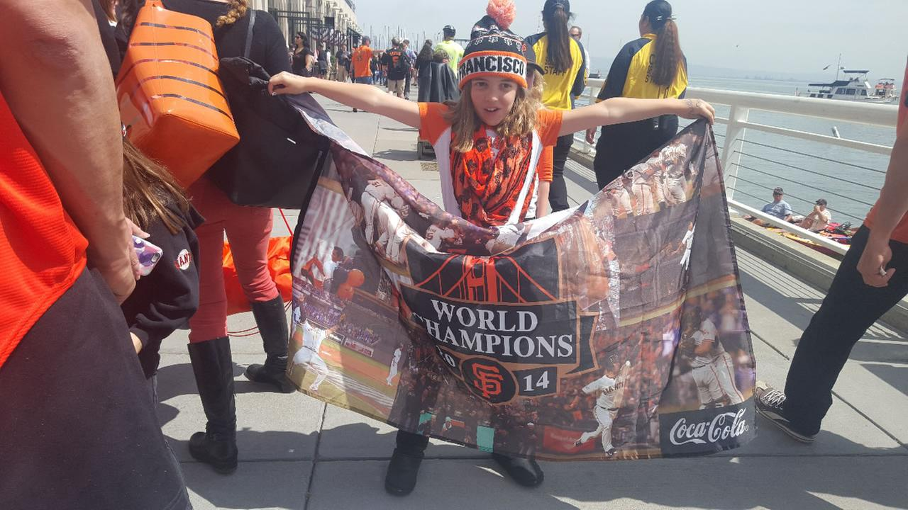 A child shows off her Giants pride at the teams opening home game at AT&T Park in San Francisco, Calif. April 7, 2016.KGO-TV/ Jarrod Lowe