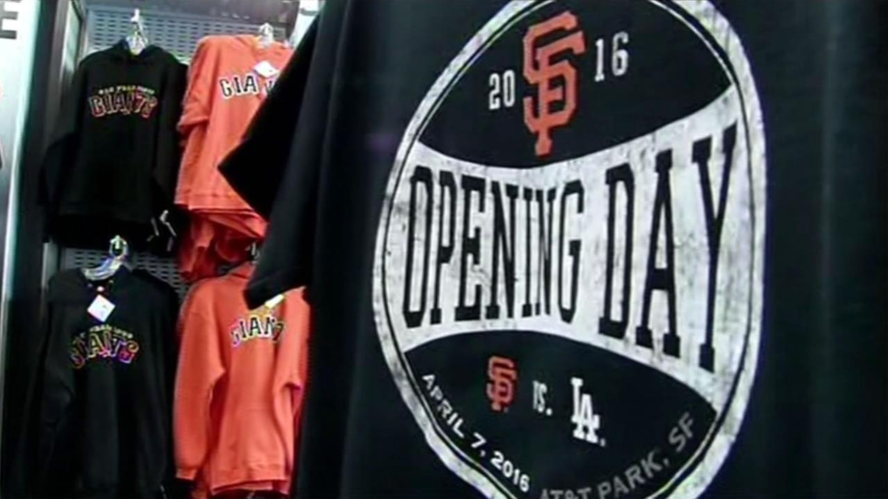 Giants gear on sale at AT&T Park commemorating this years season opener April 7, 2016.KGO-TV