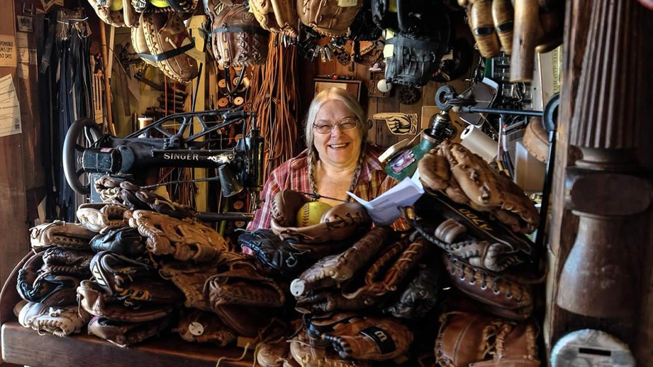 This undated image shows Fran Fleet, a Cotati, Calif. resident who repairs and restores baseball gloves.