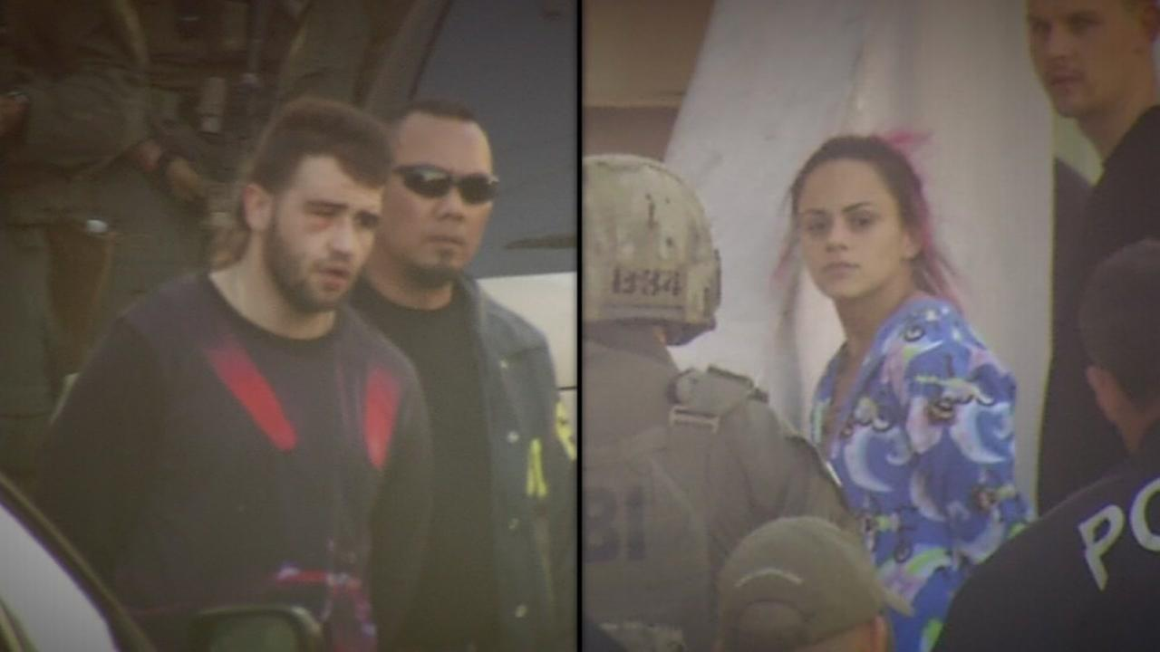 From left to right: Stanislav Petrov and and his girlfriend Milagro Moraga after they were arrested during an FBI raid in San Francisco on Friday, April 1, 2016.