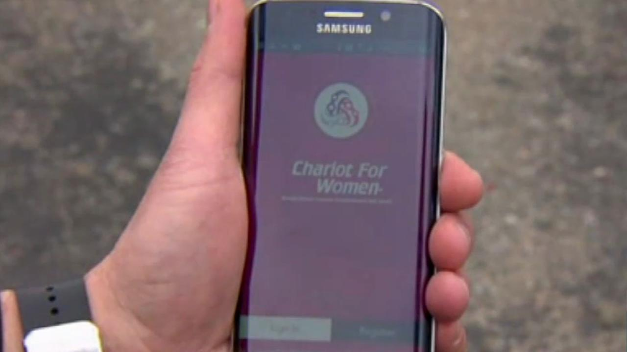 This undated image shows an app for the car service company Chariot for Women.