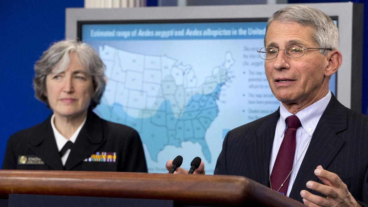 Dr. Anthony Fauci, director of NIH/NIAID with Dr. Anne Schuchat, principal deputy director of the Center for Disease Control, speaks about the Zika virus, Monday, April 11, 2016.