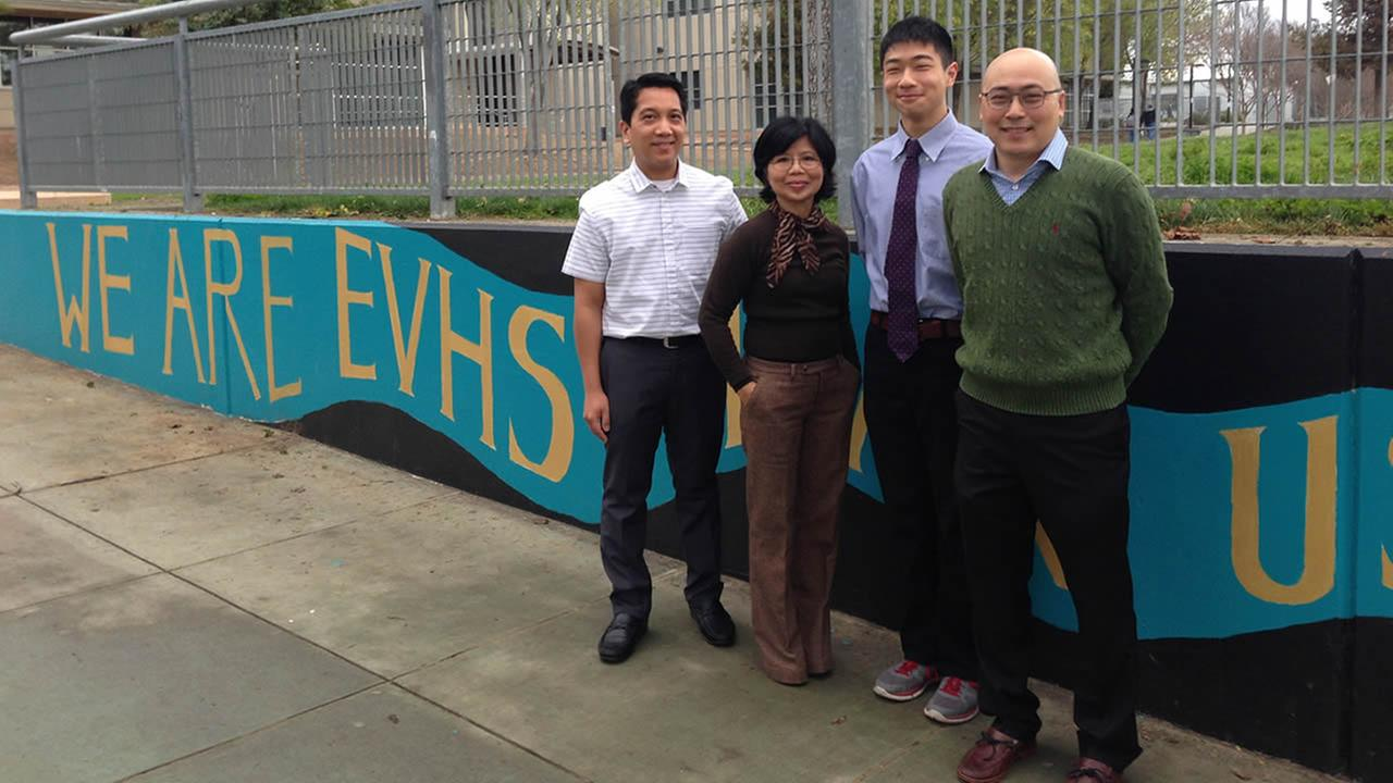 This undated photo shows Anton Cao, second from the right, with Evergreen Valley High School math teachers in San Jose, Calif.