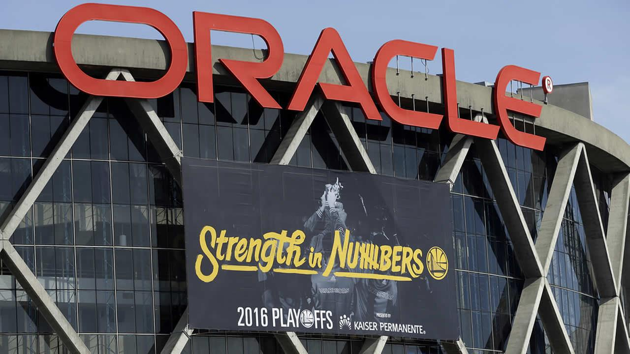 The Golden State Warriors have installed the teams 2016 playoff signage, using the Strength in Numbers slogan seen on Oracle Arena on April 12, 2016, in Oakland, Calif. (AP Photo/Ben Margot)
