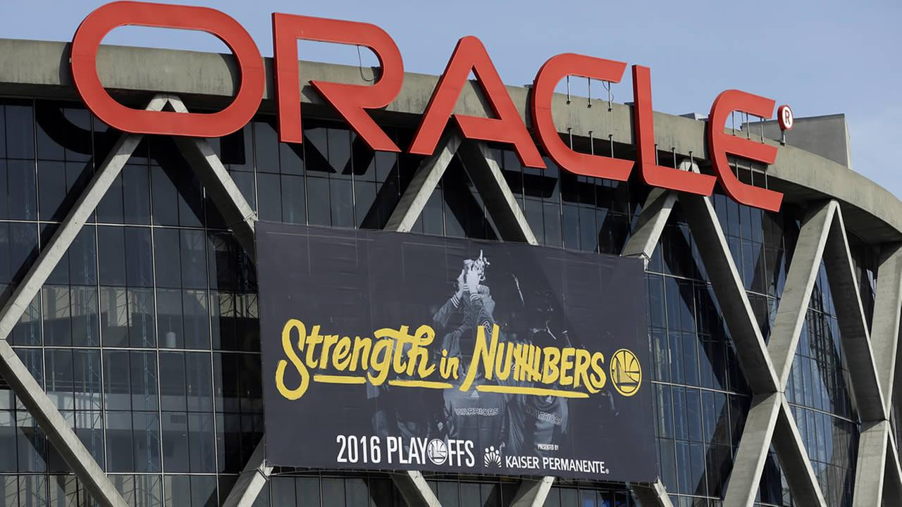 Warriors have installed the teams 2016 playoff signage, using the Strength in Numbers slogan seen on Oracle Arena on April 12, 2016, in Oakland, Calif. (AP Photo/Ben Margot)