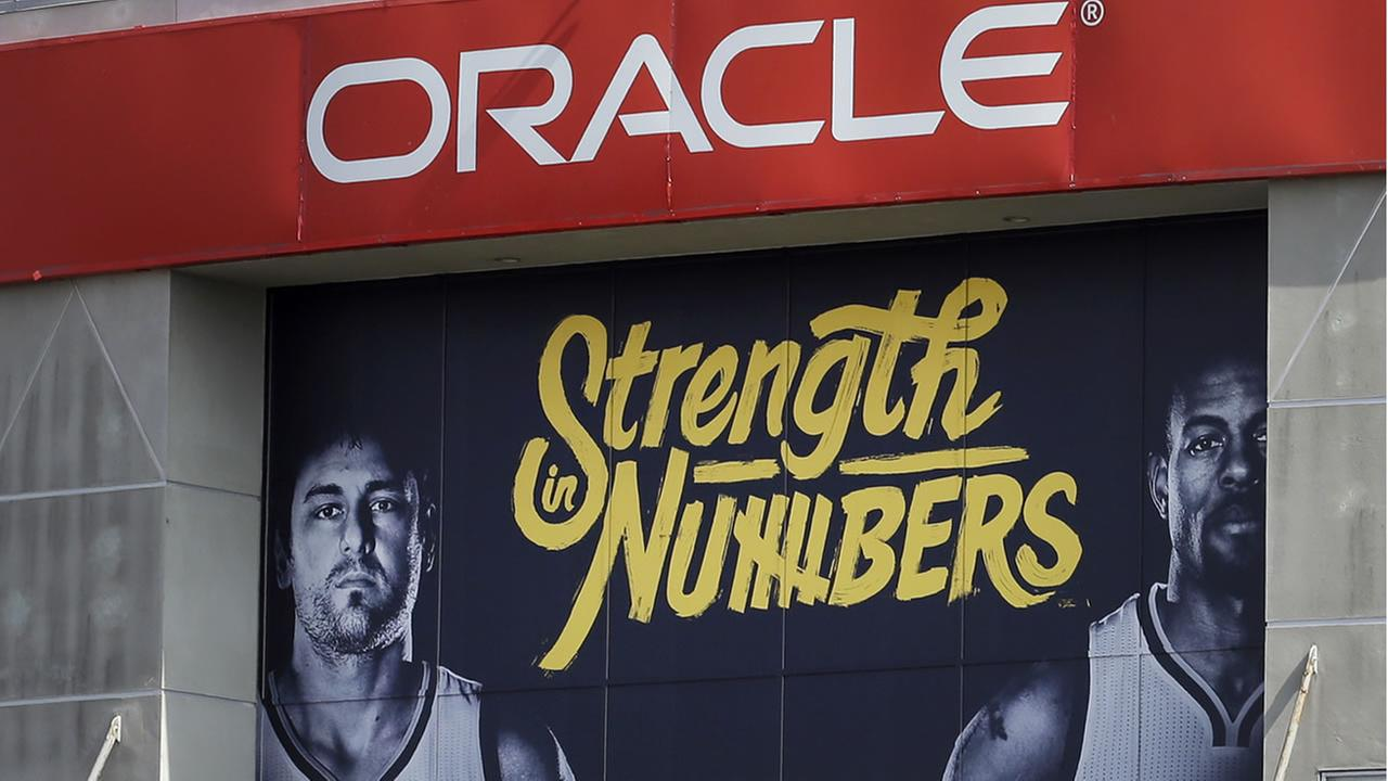 The Golden State Warriors have installed the teams 2016 [layoff signage, using the Strength in Numbers slogan seen on Oracle Arena on Tuesday, April 12, 2016, in Oakland, Calif. (AP Photo/Ben Margot)