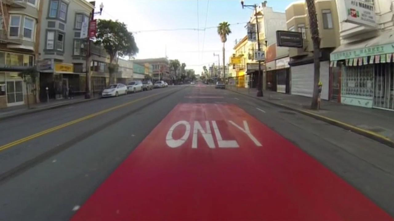 Crews are finishing up adding transit-only lanes on San Franciscos Mission Street on Thursday, April 14, 2016.