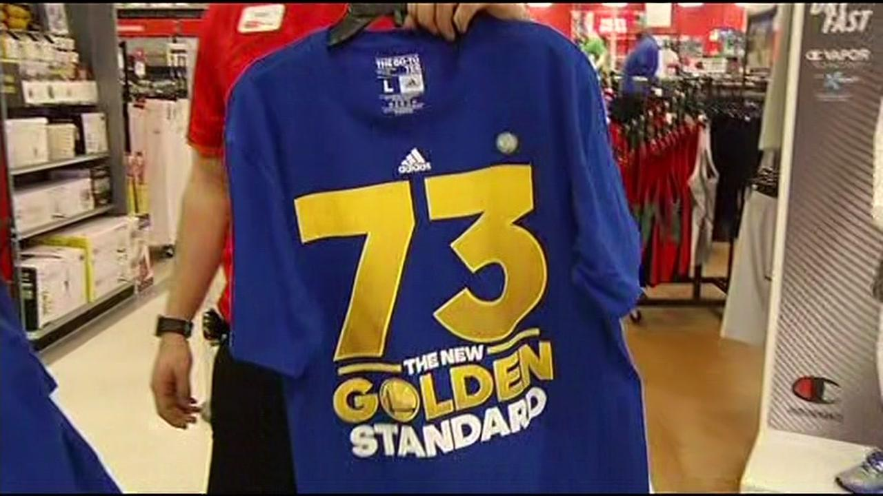 A Golden State Warriors shirt is seen in Emeryville, Calif. on Thursday, April 14, 2016.