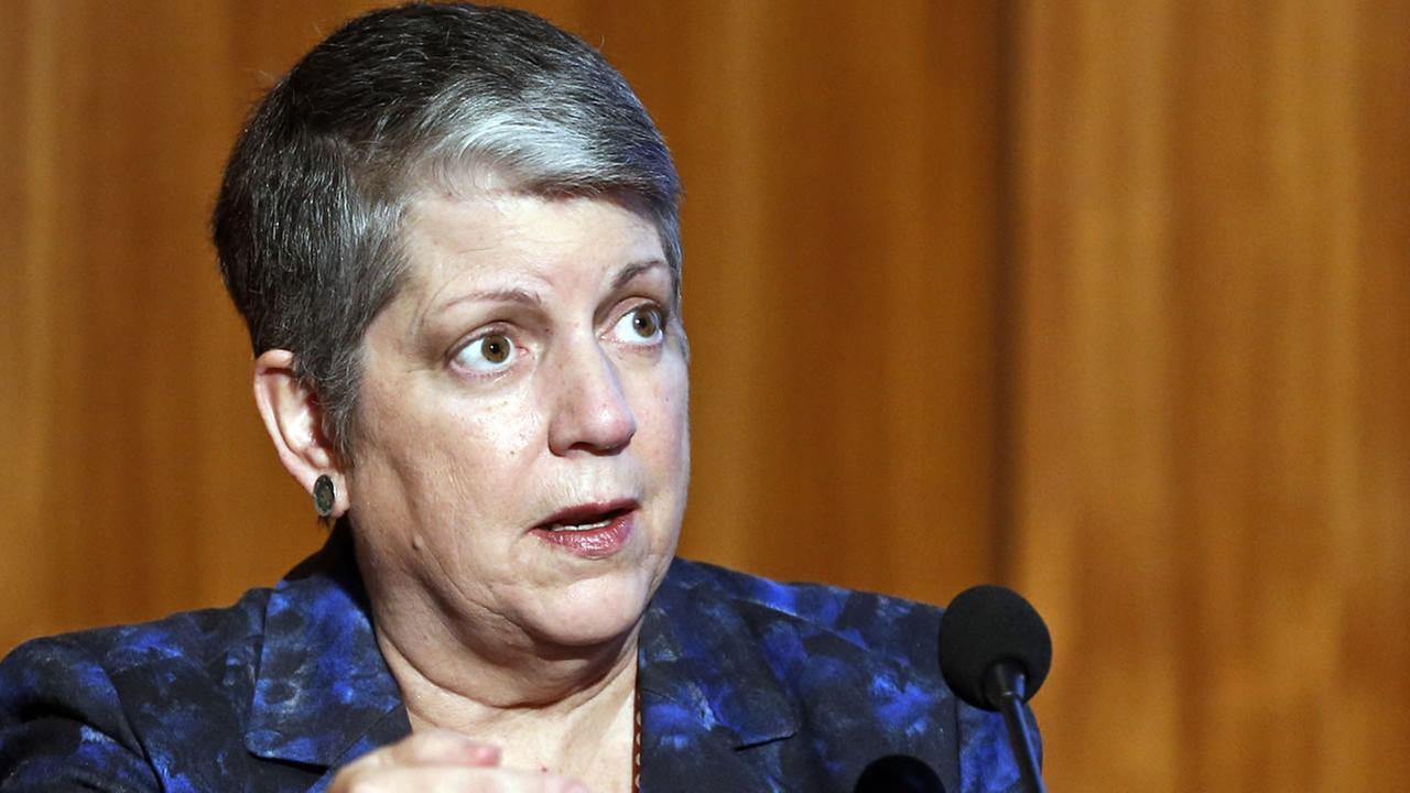 In this Oct. 27, 2015 file photo, Janet Napolitano, president of the University of California, speaks at Carbon Neutrality Initiative at the University of California, San Diego.