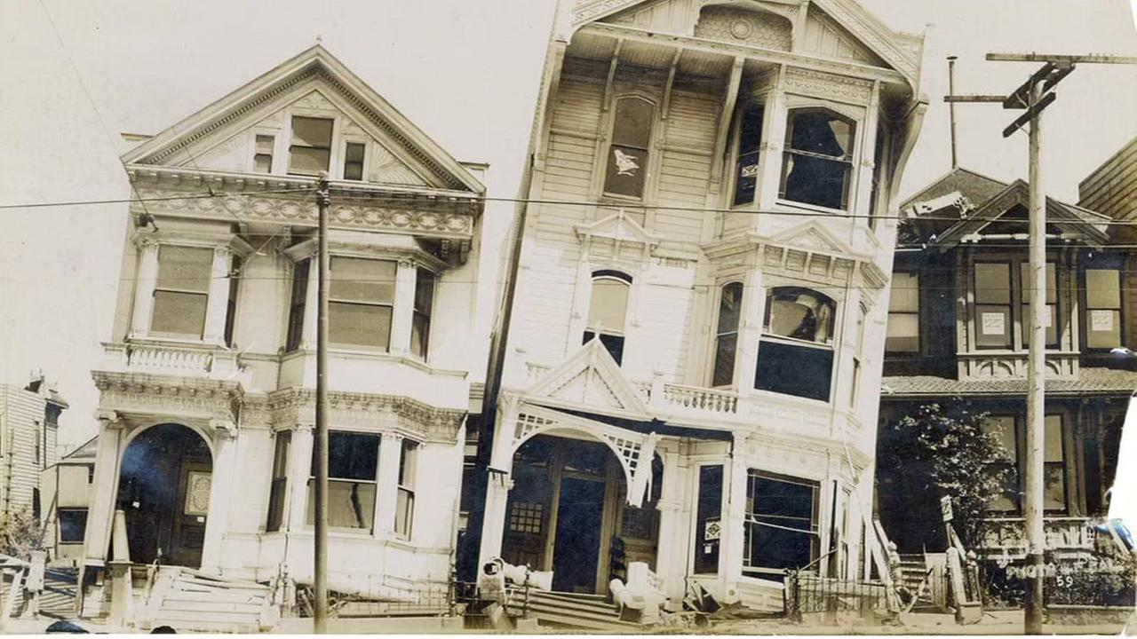 This undated image shows damage following the April 18, 1906 earthquake in San Francisco.