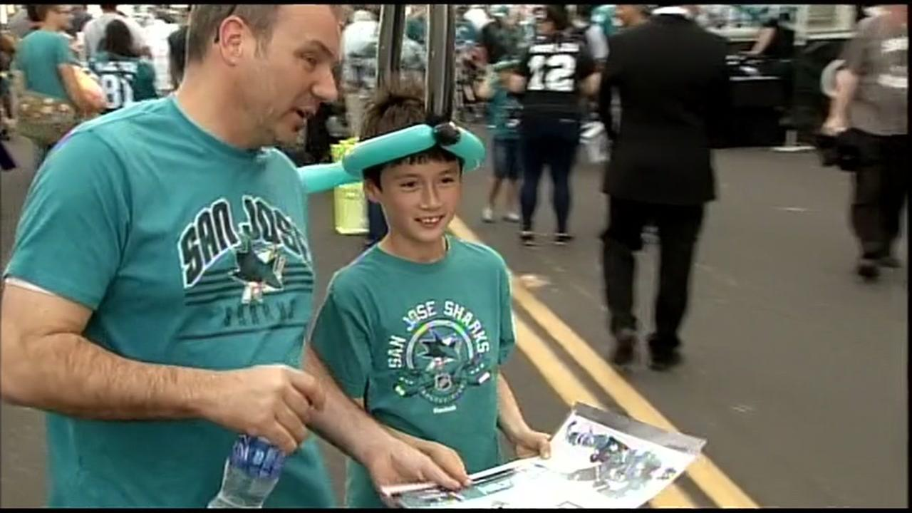 San Jose Sharks fans are seen ahead of the teams playoff Game 3 against the LA Kings in San Jose, Calif. on Monday, April 18, 2016.