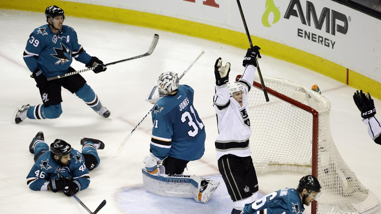 Kings Tanner Pearson celebrates after scoring the game-winning goal past Sharks goalie Martin Jones in Game 3 of an NHL Stanley Cup playoff series on April 18, 2016. (AP Photo)