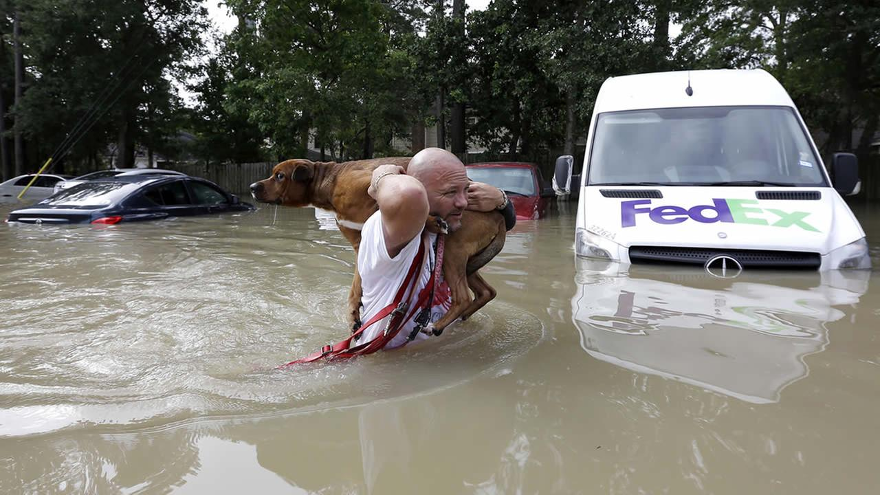 Louis Marquez carries his dog Dallas through floodwaters after rescuing the dog from his flooded apartment Tuesday, April 19, 2016, in Houston. (AP Photo/David J. Phillip)AP Photo/David J. Phillip