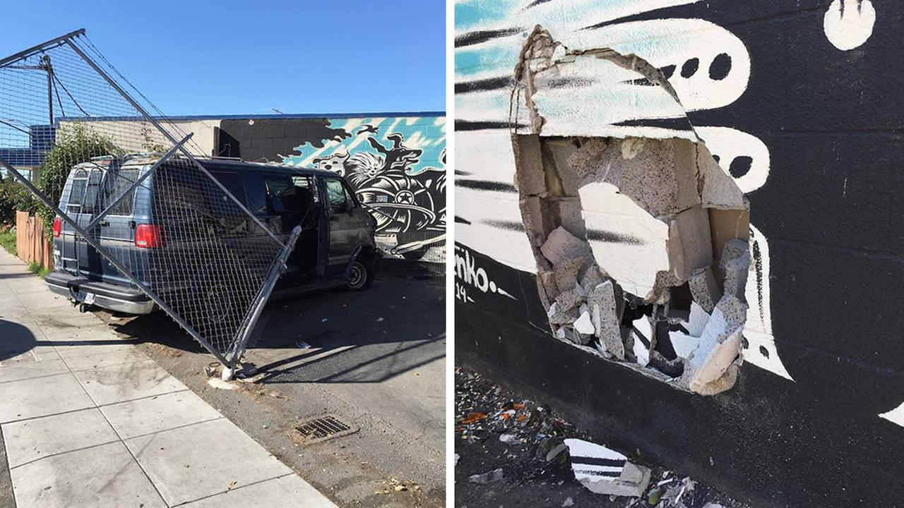These photos show damage sustained after a stolen van crashed into Rocket Dog Rescues shelter in Oakland, Calif. on Monday, April 18, 2016.