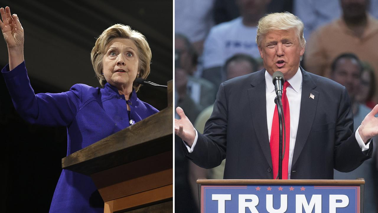 Democratic presidential candidate Hillary Clinton, left, and Republican presidential candidate Donald Trump, right, speak at separate events in New York on April 18, 2016.
