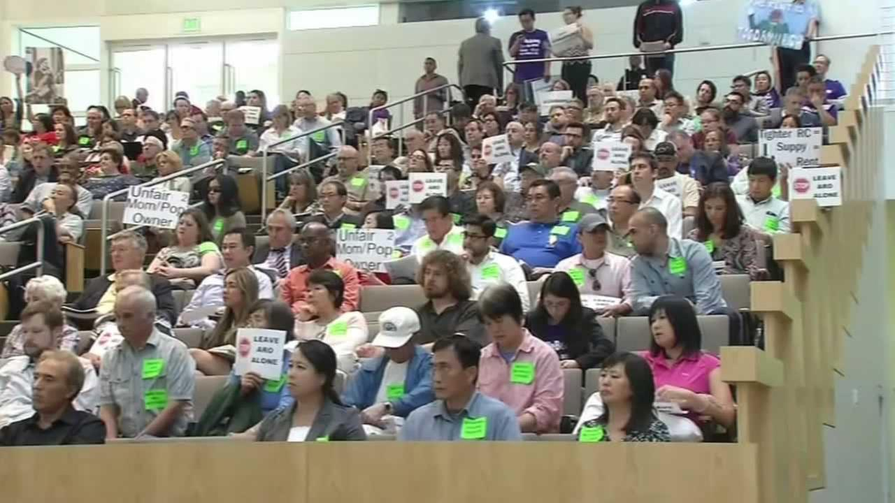 San Jose, Calif. renters attend a city council meeting on Tuesday, April 19, 2016.