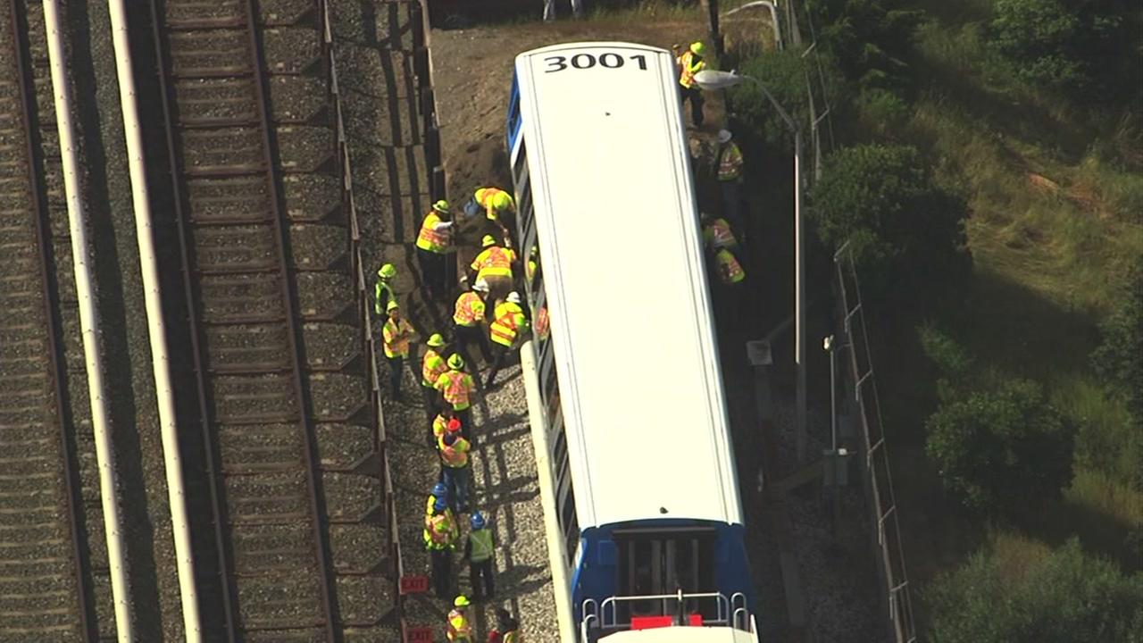 A new BART train crashed into a dirt embankment during testing in Hayward, Calif. on Friday, April 22, 2016.KGO-TV
