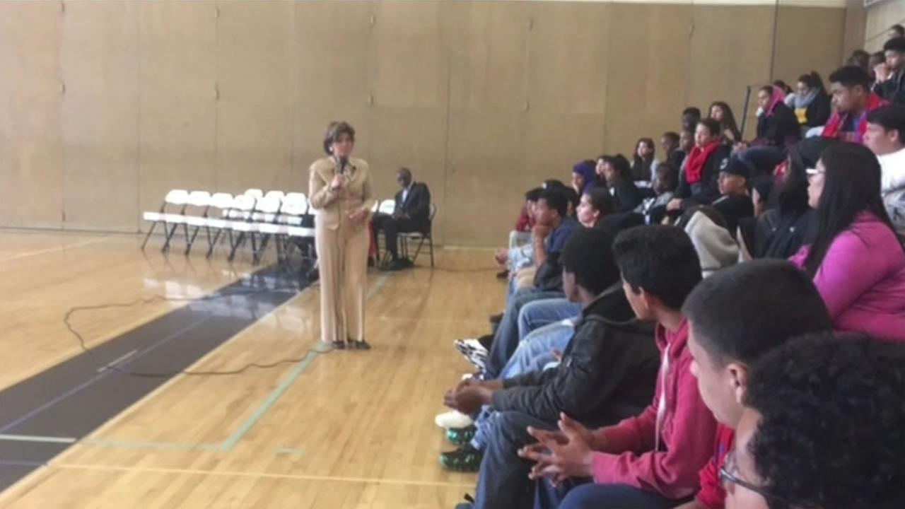 Gloria Allred visited Tennyson High School in Hayward, Calif. on Friday, April 22, 2016 to counter a recent visit by ex-49er and accused rapist Ray McDonald.