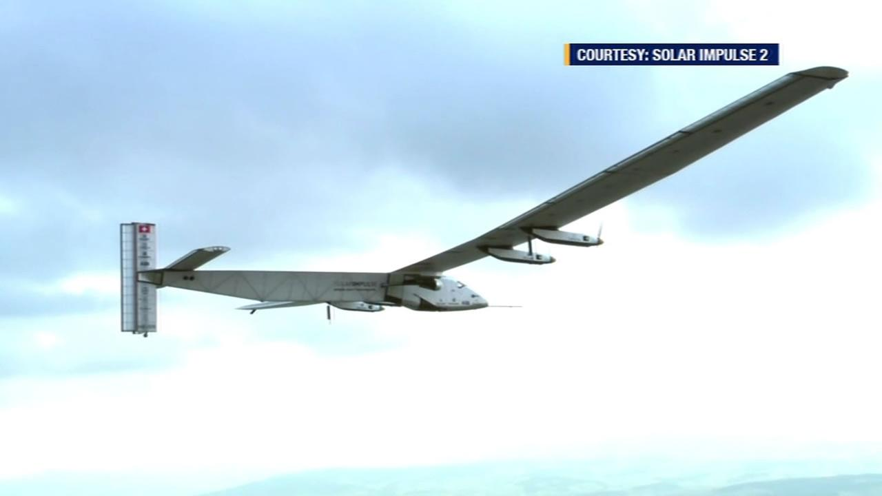 This image shows the Solar Impulse 2 that is currently on a around the word flight thats expected to end at Moffett Field in San Jose, Calif.