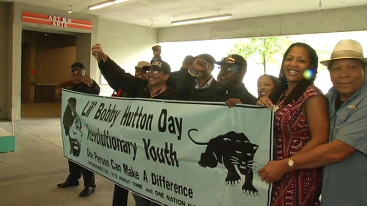 This images a group of Black Panther Party members on the 50th anniversary of the partys creation in Oakland, Calif. April 22, 2016.