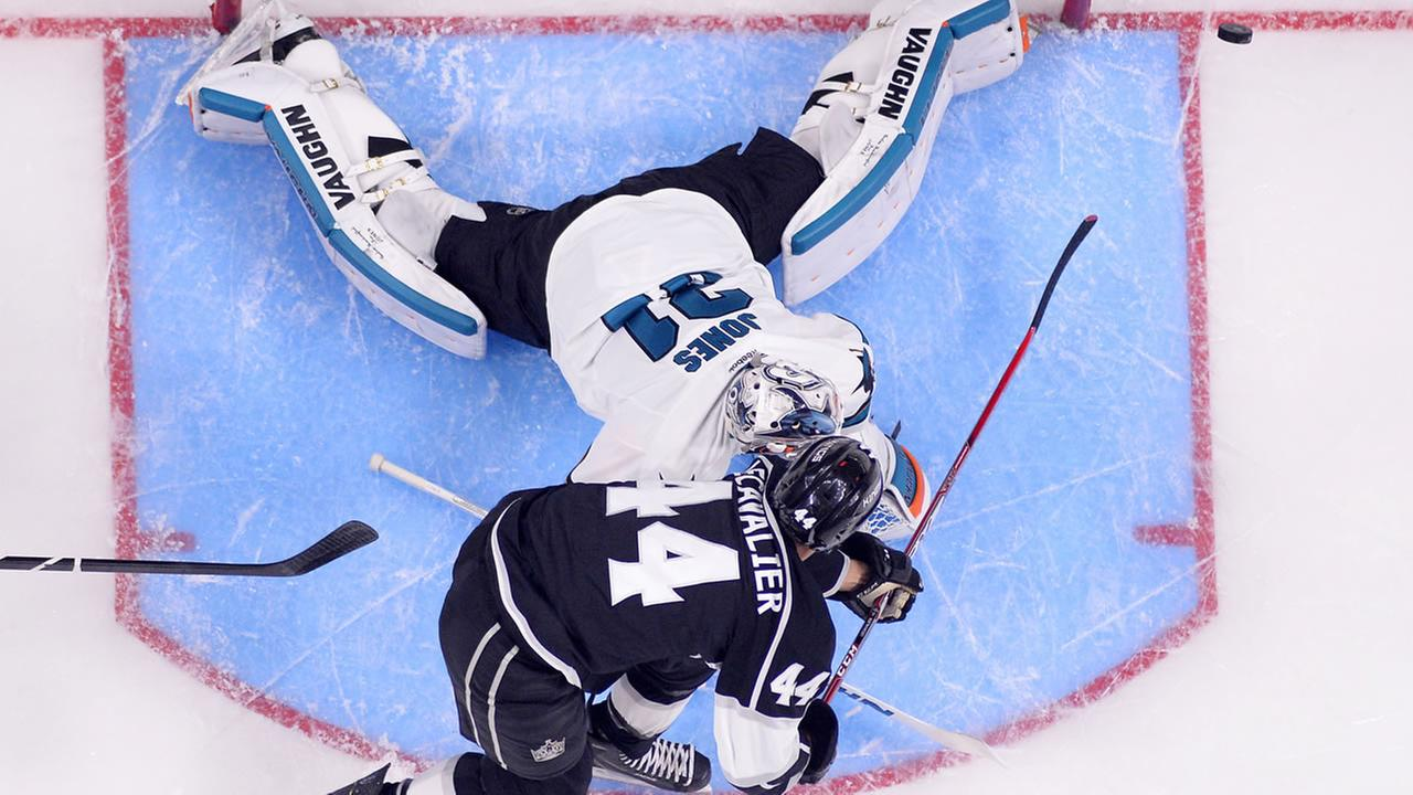 Los Angeles Kings center Vincent Lecavalier, below, tries to score on San Jose Sharks goalie Martin Jones in Game 5 in an NHL hockey Stanley Cup playoffs Friday, April 22, 2016.