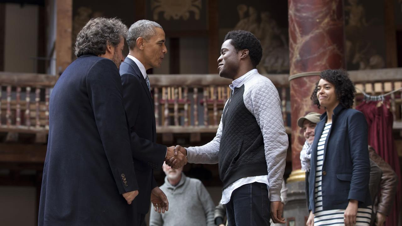 President Barack Obama, 2nd left, greets actors on stage after watching them perform Shakespeares Hamlet at the Globe Theatre in London, Saturday, April 23, 2016.