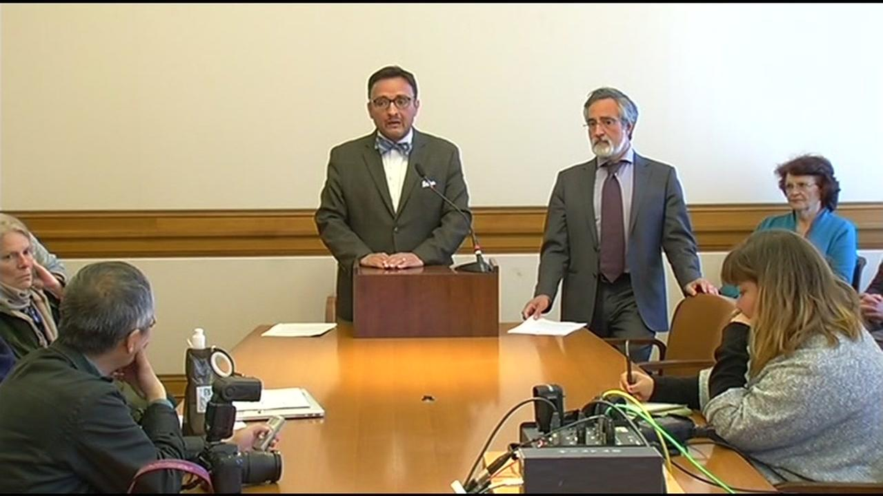 San Francisco Supervisors David Campos and Aaron Peskin speak at a news conference on Monday, April 25, 2016.