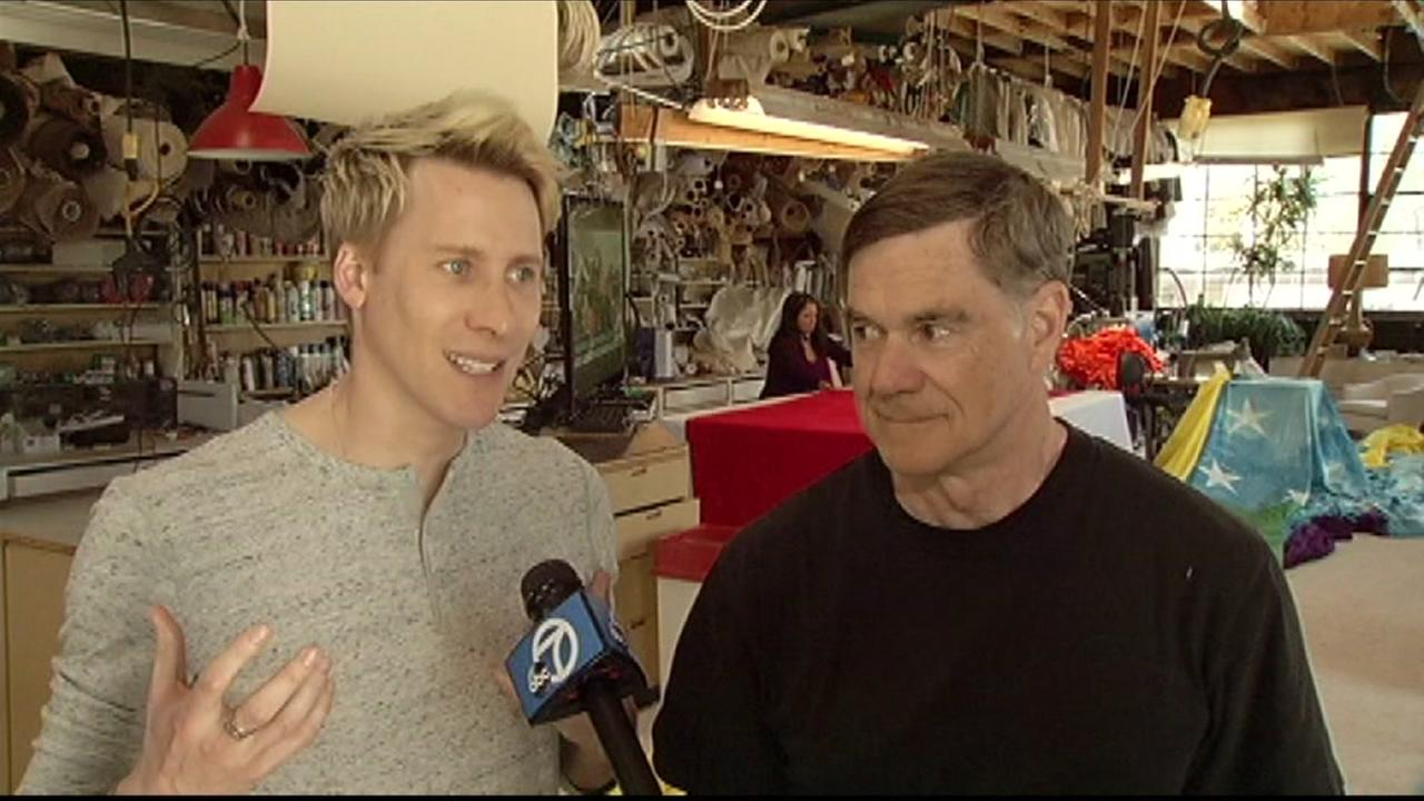 This image from April 25, 2016 shows Dustin Lance Black and Gus Van Sant as they talk about the new ABC miniseries theyre shooting in San Francisco.