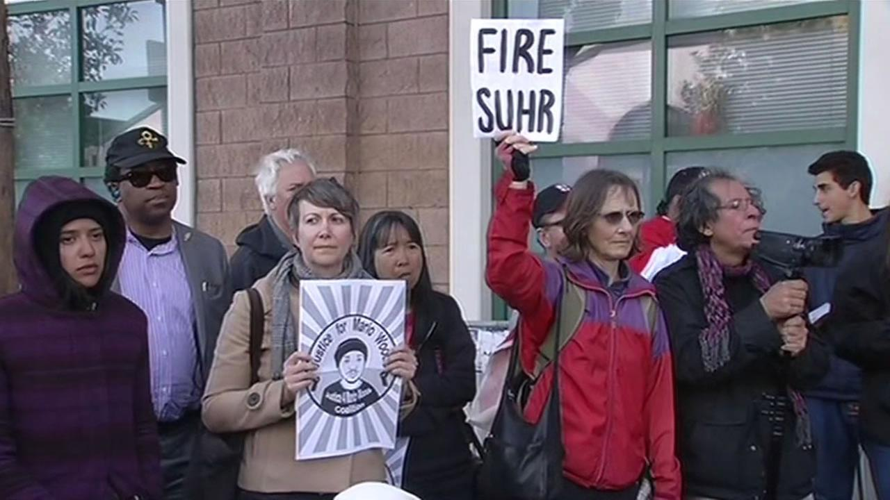 Protesters gathered at the San Francisco Police Department in the Mission District to demand the firing of San Francisco Police Chief Greg Suhr April 26, 2016.