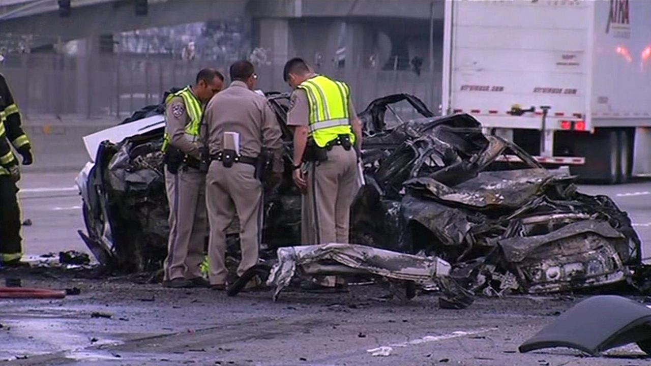Fatal crash scene on I-580 in Pleasanton, California, Wednesday, April 27, 2016.