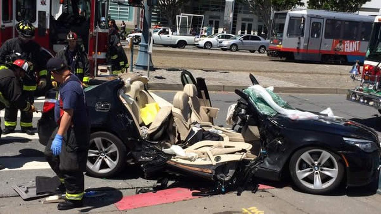 A car crash is seen on Embarcadero at Bryant Street in San Francisco, Calif. on Wednesday, April 27, 2016.