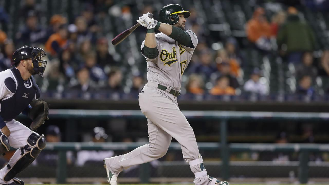 Oakland Athletics Yonder Alonso bats during the eighth inning of a baseball game against the Detroit Tigers, Wednesday, April 27, 2016, in Detroit.