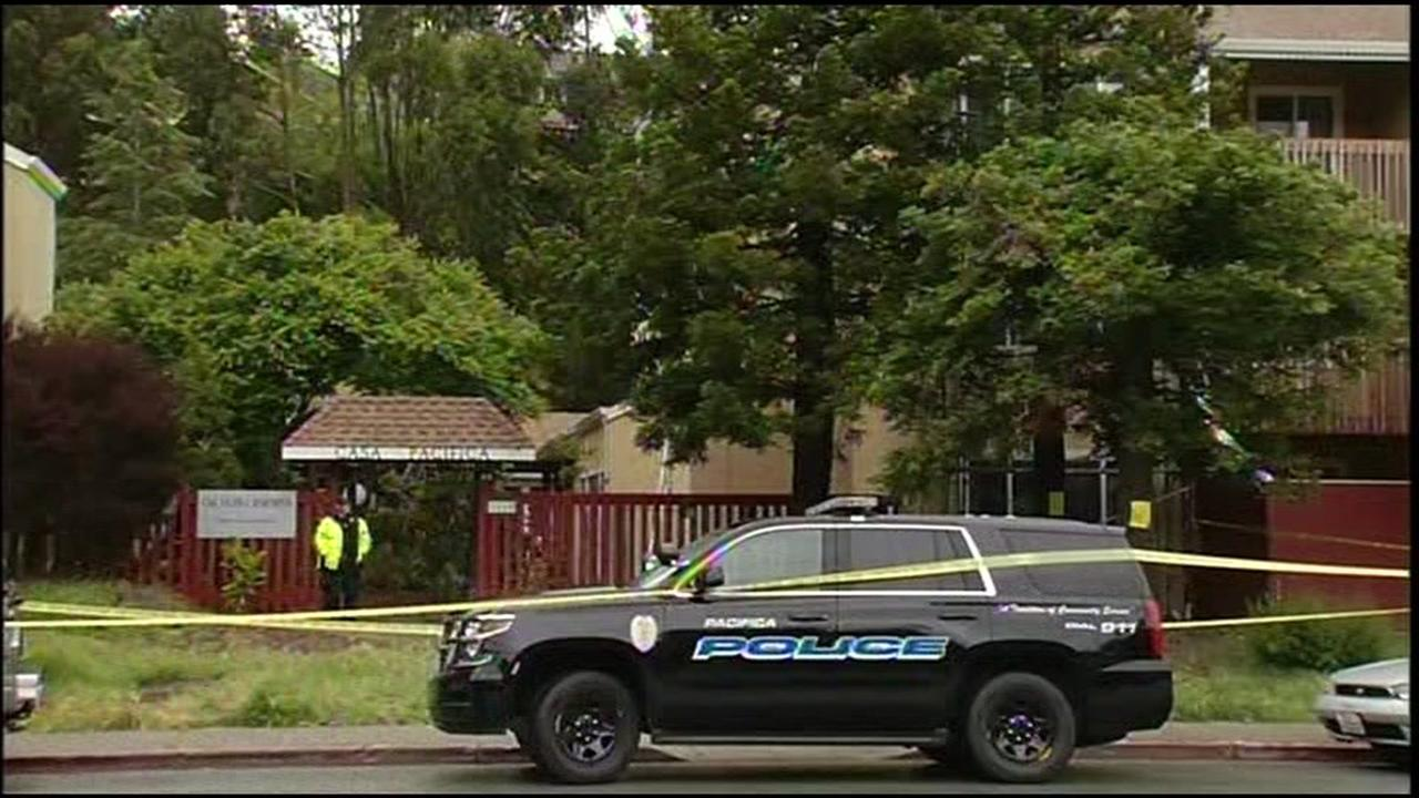 Police investigate after a pregnant woman was shot in the head in Pacifica, Calif. on Wednesday, April 27, 2016.