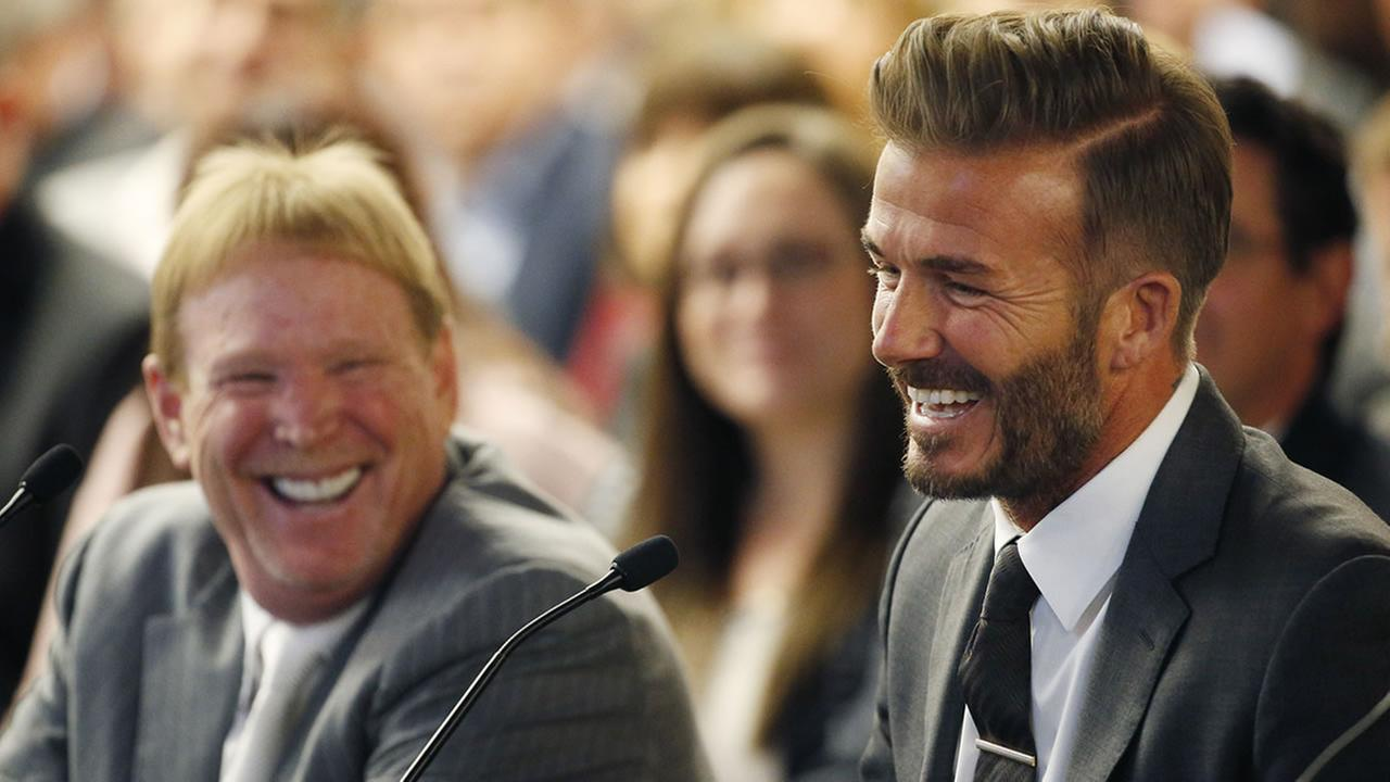 Raiders Owner Mark Davis and former soccer player David Beckham attend a meeting of the Southern Nevada Tourism Infrastructure Committee on April 28, 2016, in Las Vegas. (AP Photo/John Locher)