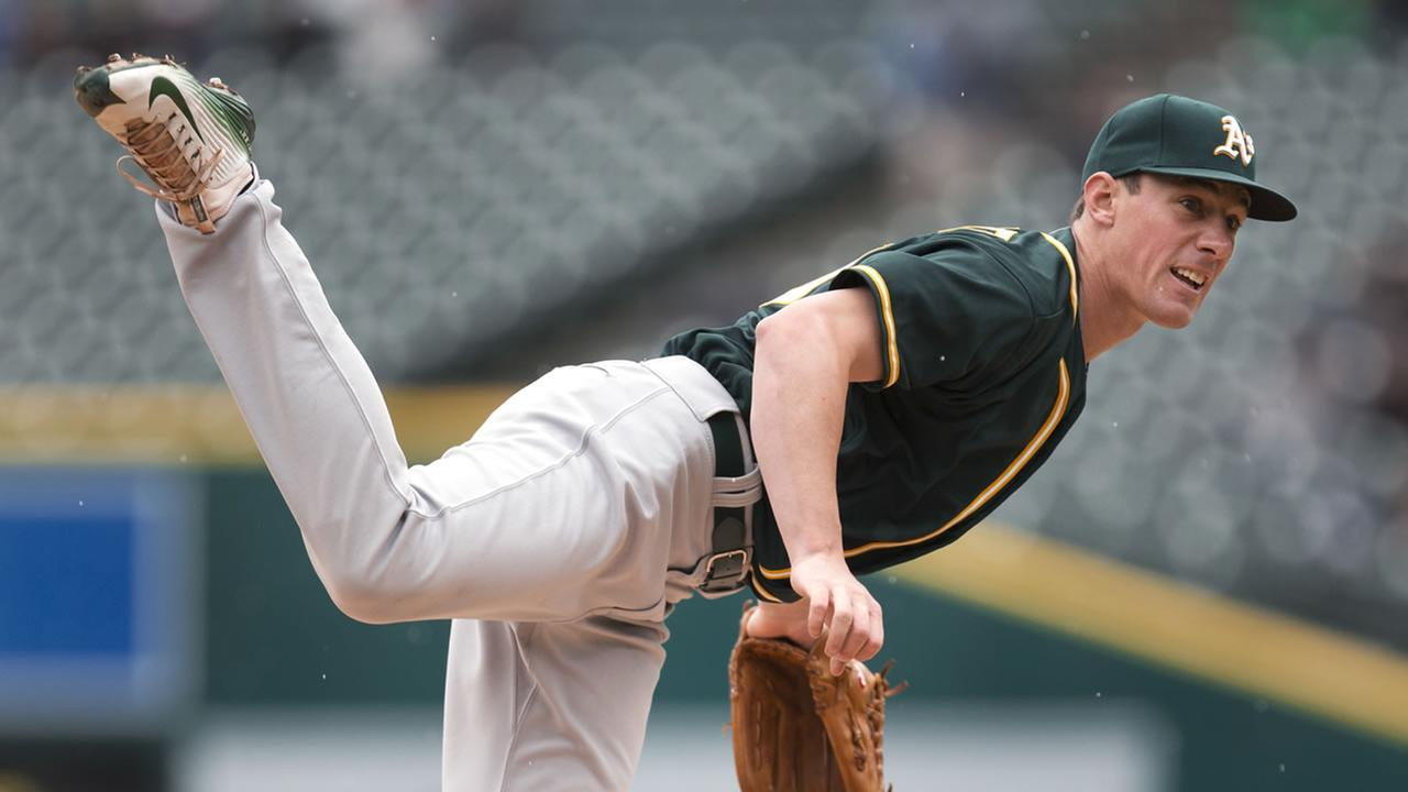 Oakland Athletics pitcher Chris Bassitt throws against the Detroit Tigers in the first inning of a baseball game in Detroit, Thursday, April 28, 2016.