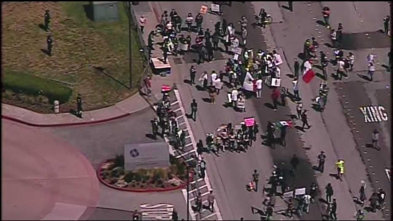 Donald Trump protesters block Old Bayshore Highway in Burlingame, Calif. on Friday, April 29, 2016.KGO-TV