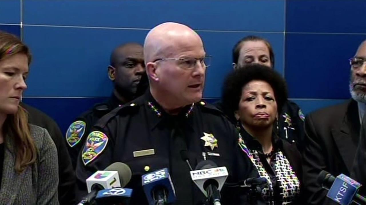 SFPD Chief Greg Suhr speaks on the recent texting scandal on Friday, April 29, 2016 in San Francisco.