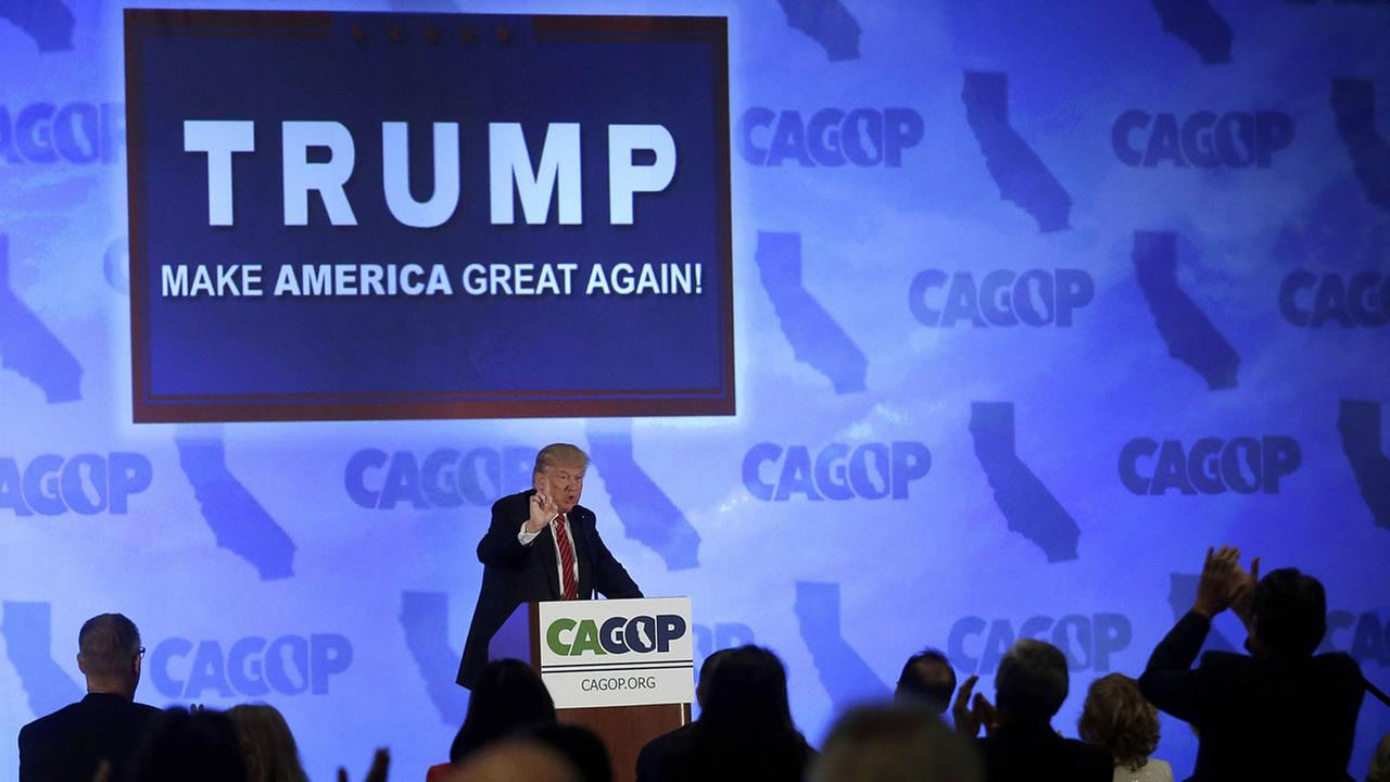 FILE - In this April 29, 2016 file photo, Republican presidential candidate Donald Trump speaks at the California Republican Party 2016 convention in Burlingame, Calif.