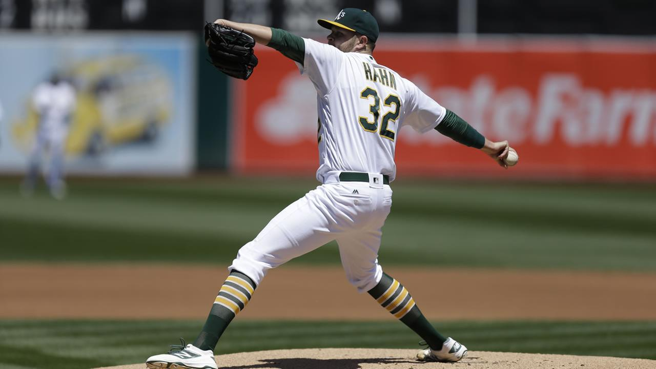 Oakland Athletics pitcher Jesse Hahn works against the Houston Astros in the first inning of a baseball game Saturday, April 30, 2016, in Oakland, Calif.