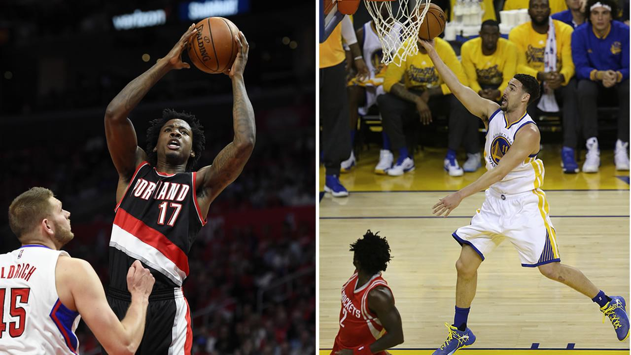 This split screen shows Golden State Warriors Klay Thompson and Portland Trail Blazers center Ed Davis.