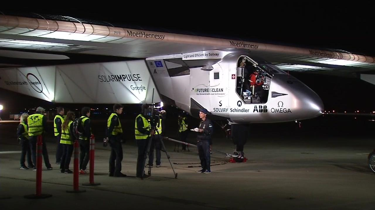The Solar Impulse 2 prepares to leave Moffett Field on Monday, May 2, 2016.